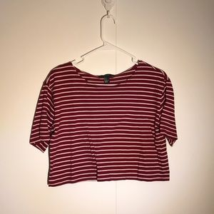 Forever21 Red & White Stripe Cropped Tee